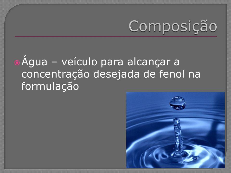 Composição Água – veículo para alcançar a concentração desejada de fenol na formulação
