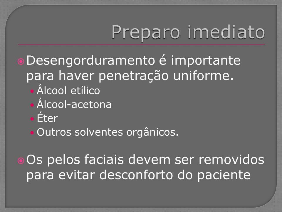 Preparo imediato Desengorduramento é importante para haver penetração uniforme. Álcool etílico. Álcool-acetona.