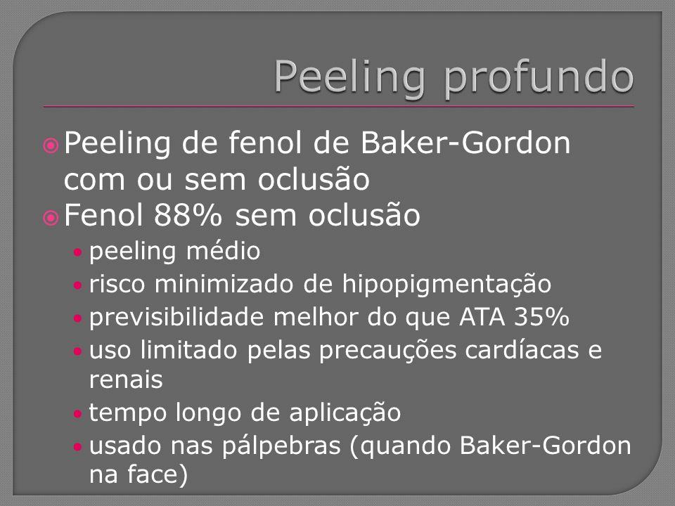Peeling profundo Peeling de fenol de Baker-Gordon com ou sem oclusão