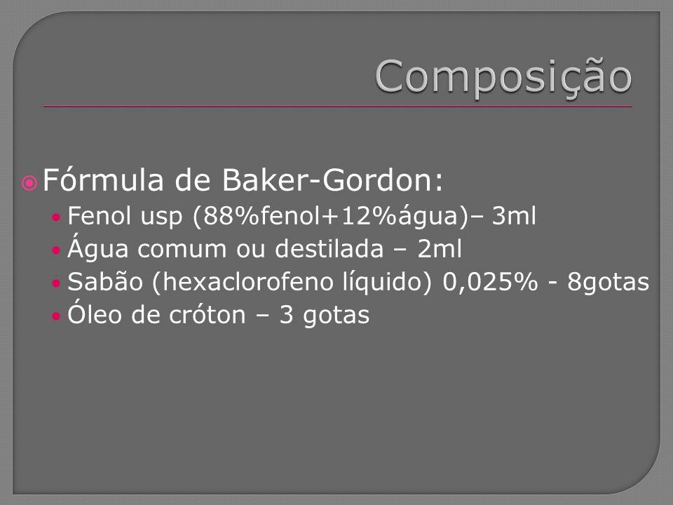 Composição Fórmula de Baker-Gordon: Fenol usp (88%fenol+12%água)– 3ml