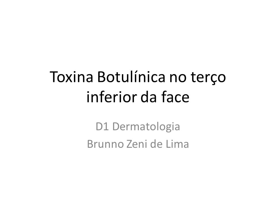 Toxina Botulínica no terço inferior da face