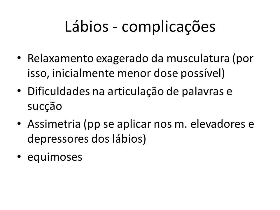Lábios - complicações Relaxamento exagerado da musculatura (por isso, inicialmente menor dose possível)