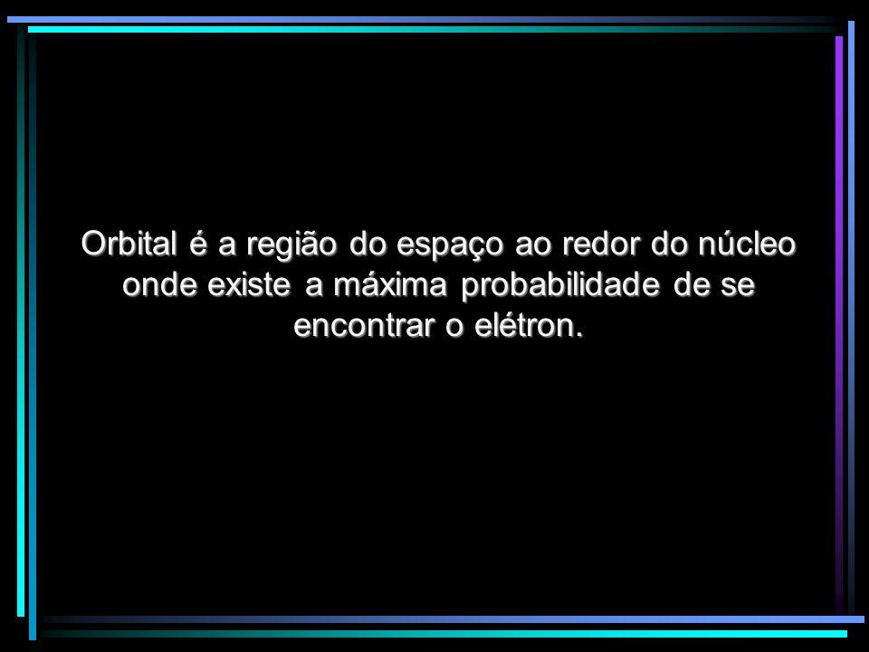Orbital é a região do espaço ao redor do núcleo onde existe a máxima probabilidade de se encontrar o elétron.