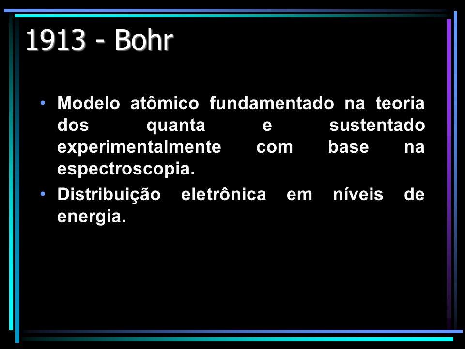 1913 - BohrModelo atômico fundamentado na teoria dos quanta e sustentado experimentalmente com base na espectroscopia.