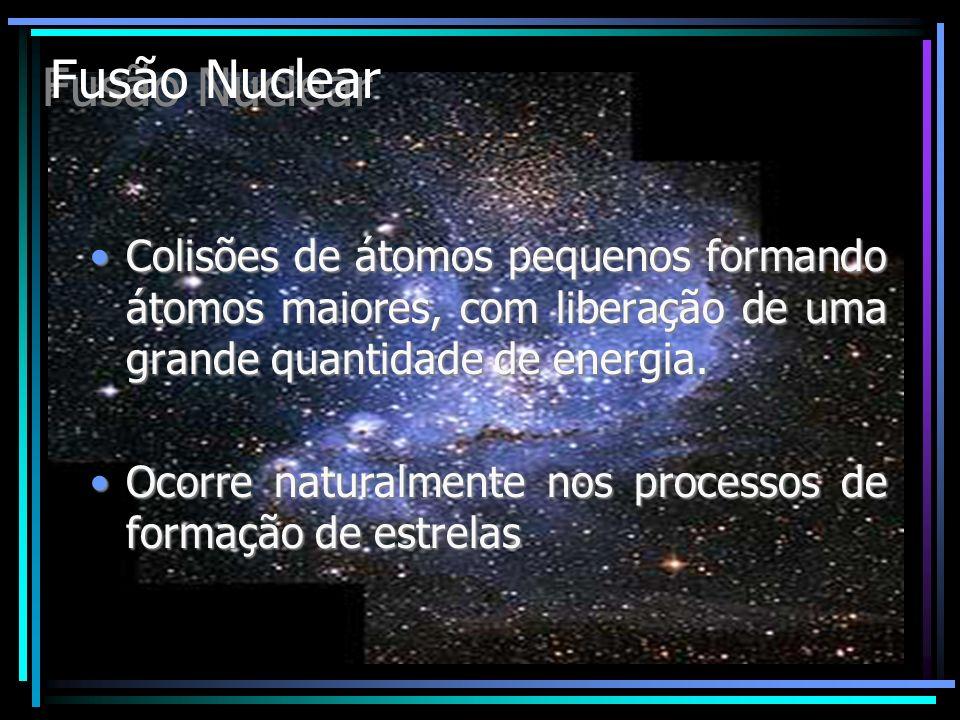 Fusão Nuclear Colisões de átomos pequenos formando átomos maiores, com liberação de uma grande quantidade de energia.