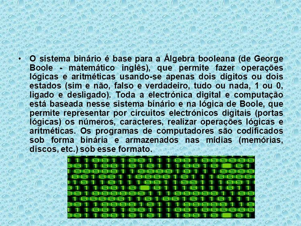 O sistema binário é base para a Álgebra booleana (de George Boole - matemático inglês), que permite fazer operações lógicas e aritméticas usando-se apenas dois dígitos ou dois estados (sim e não, falso e verdadeiro, tudo ou nada, 1 ou 0, ligado e desligado).