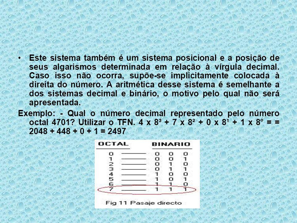 Este sistema também é um sistema posicional e a posição de seus algarismos determinada em relação à vírgula decimal. Caso isso não ocorra, supõe-se implicitamente colocada à direita do número. A aritmética desse sistema é semelhante a dos sistemas decimal e binário, o motivo pelo qual não será apresentada.