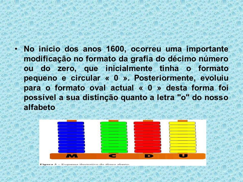 No início dos anos 1600, ocorreu uma importante modificação no formato da grafia do décimo número ou do zero, que inicialmente tinha o formato pequeno e circular « 0 ».