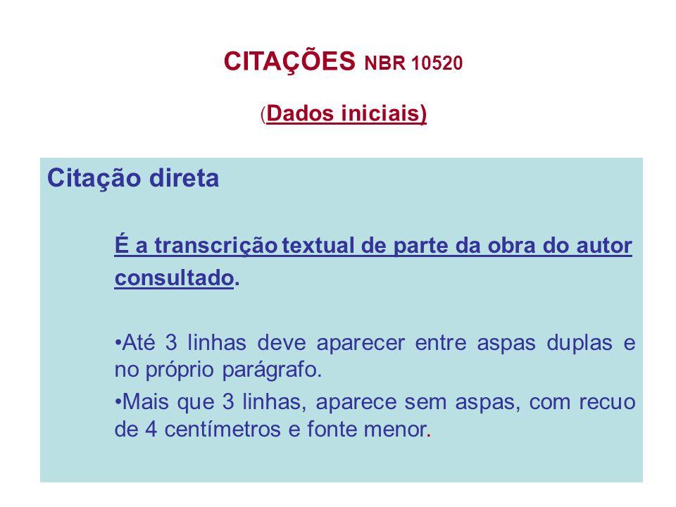 CITAÇÕES NBR 10520 (Dados iniciais)