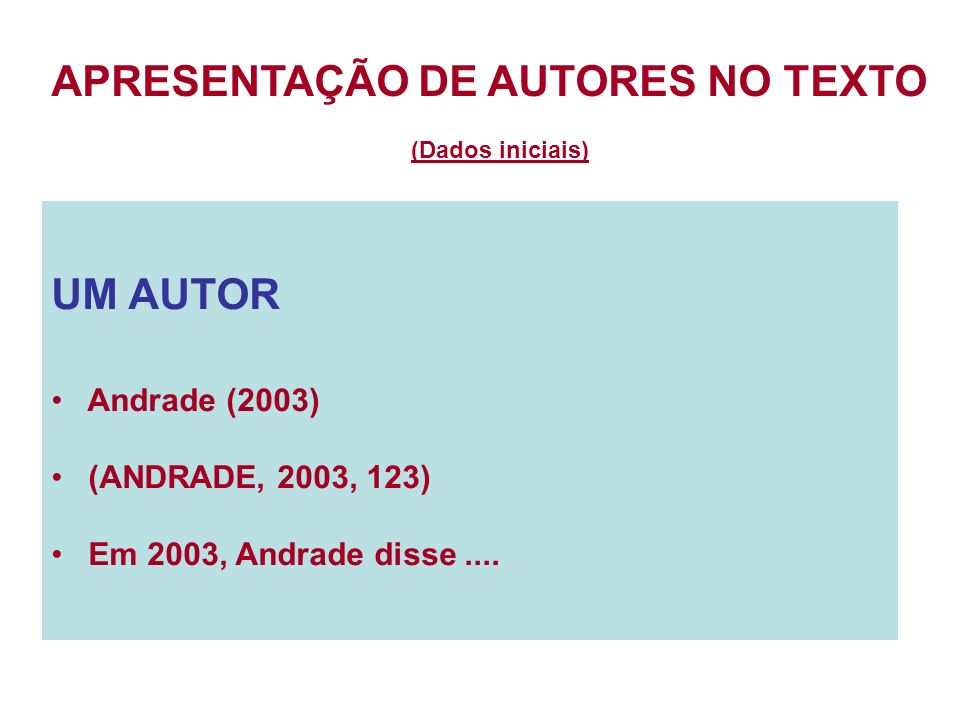 APRESENTAÇÃO DE AUTORES NO TEXTO