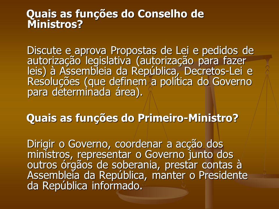 Quais as funções do Conselho de Ministros