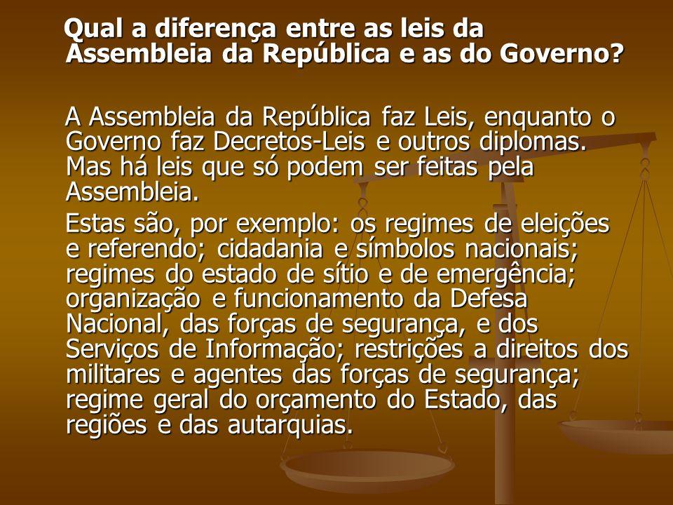Qual a diferença entre as leis da Assembleia da República e as do Governo