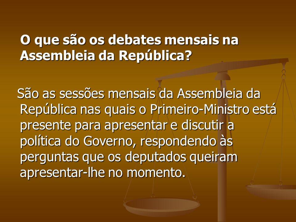 O que são os debates mensais na Assembleia da República
