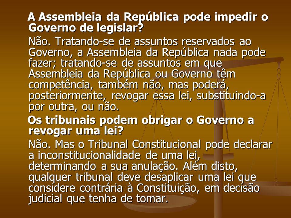 A Assembleia da República pode impedir o Governo de legislar