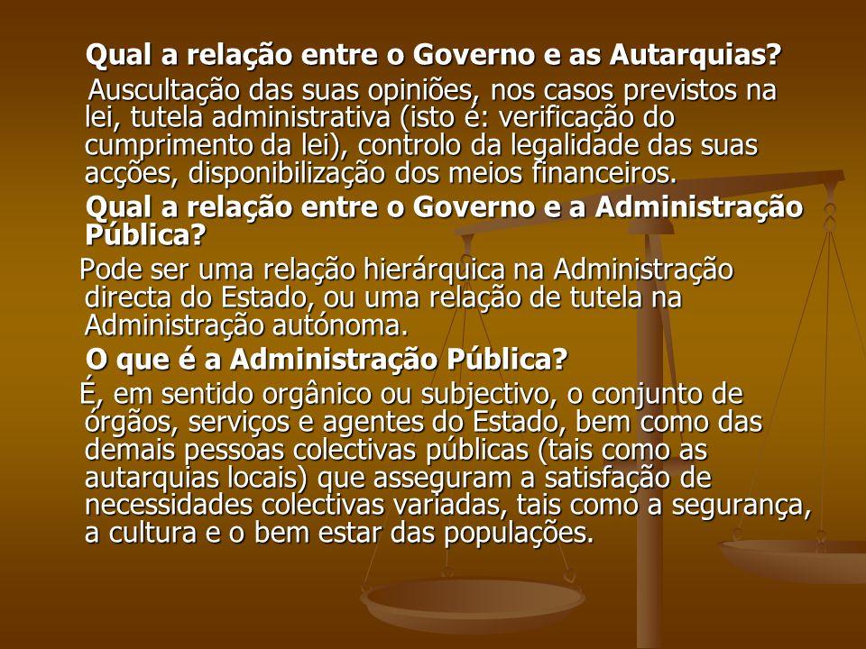 Qual a relação entre o Governo e as Autarquias