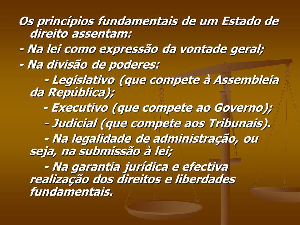 Os princípios fundamentais de um Estado de direito assentam: