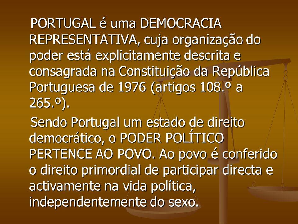 PORTUGAL é uma DEMOCRACIA REPRESENTATIVA, cuja organização do poder está explicitamente descrita e consagrada na Constituição da República Portuguesa de 1976 (artigos 108.º a 265.º).