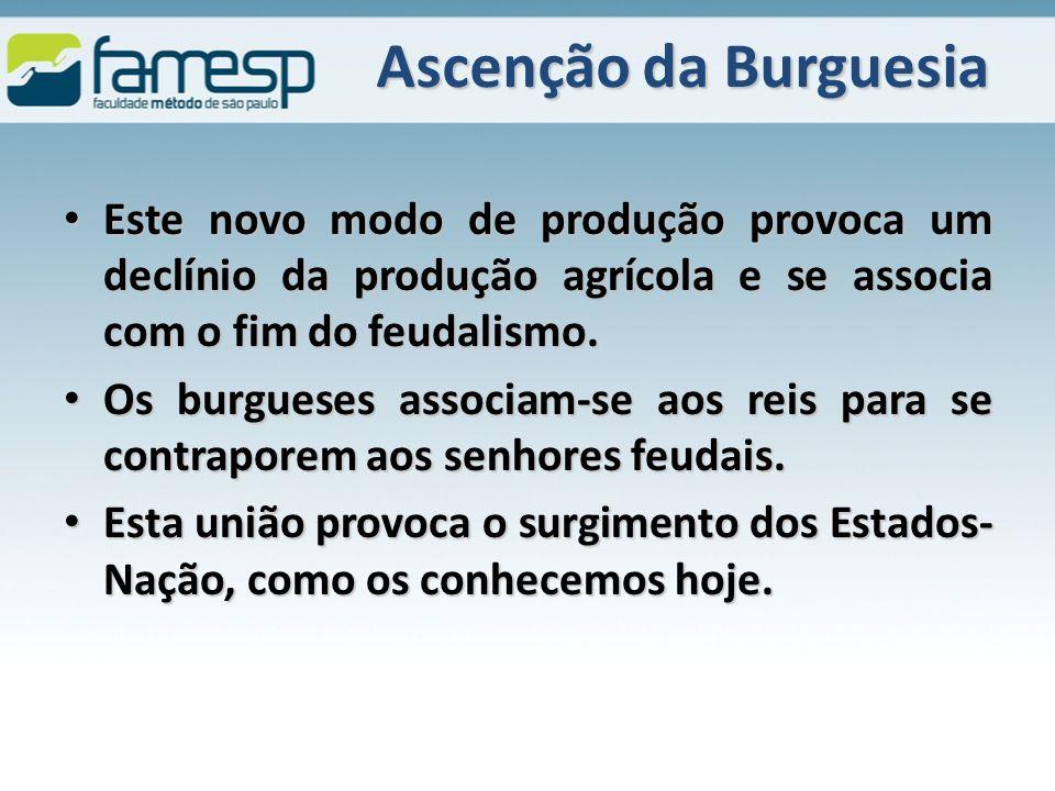 Ascenção da Burguesia Este novo modo de produção provoca um declínio da produção agrícola e se associa com o fim do feudalismo.