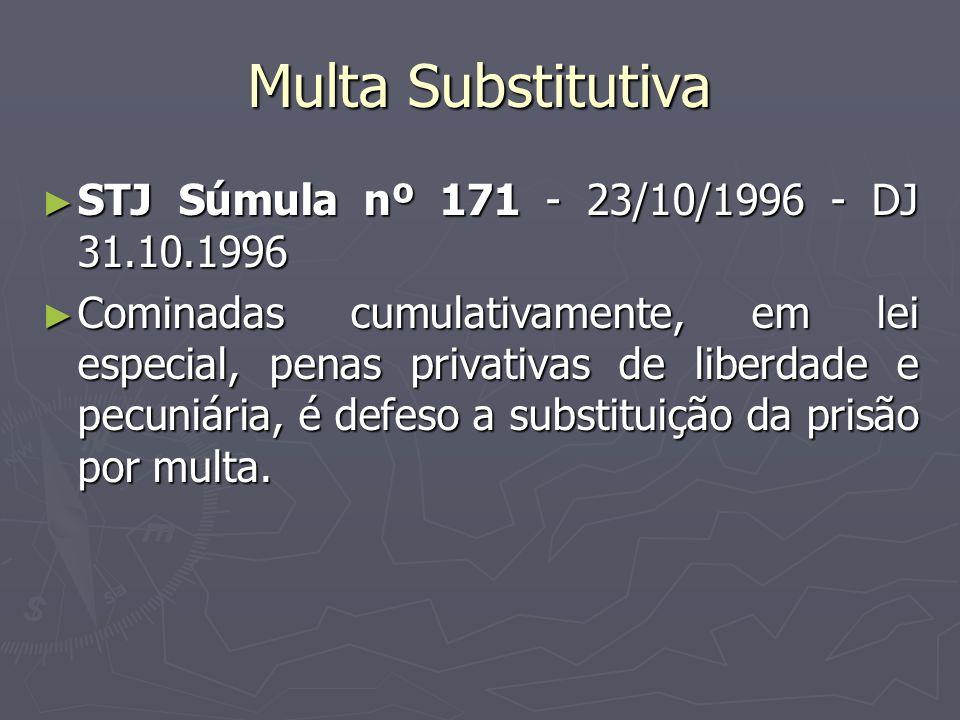 Multa Substitutiva STJ Súmula nº 171 - 23/10/1996 - DJ 31.10.1996