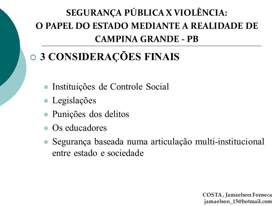 3 CONSIDERAÇÕES FINAIS Instituições de Controle Social Legislações