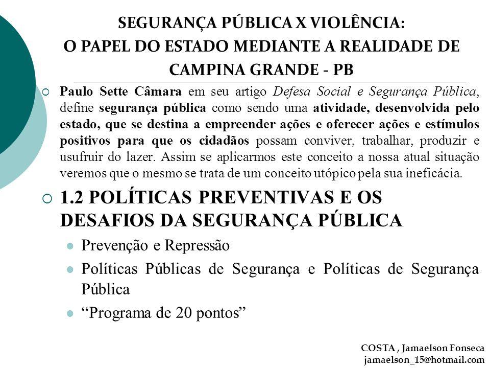 1.2 POLÍTICAS PREVENTIVAS E OS DESAFIOS DA SEGURANÇA PÚBLICA