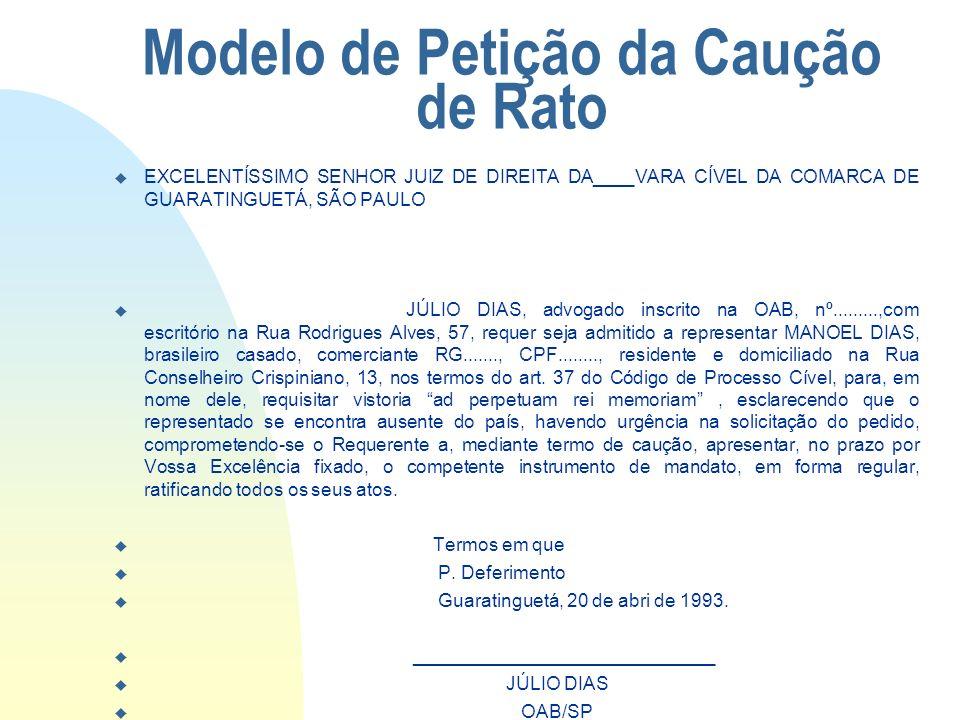 Modelo de Petição da Caução de Rato