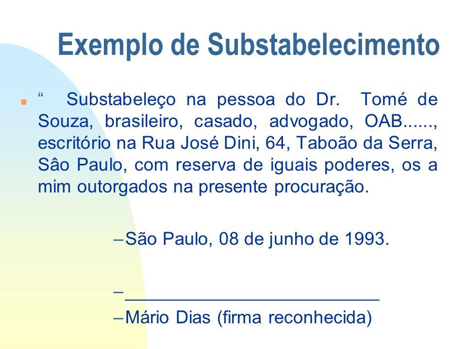 Exemplo de Substabelecimento