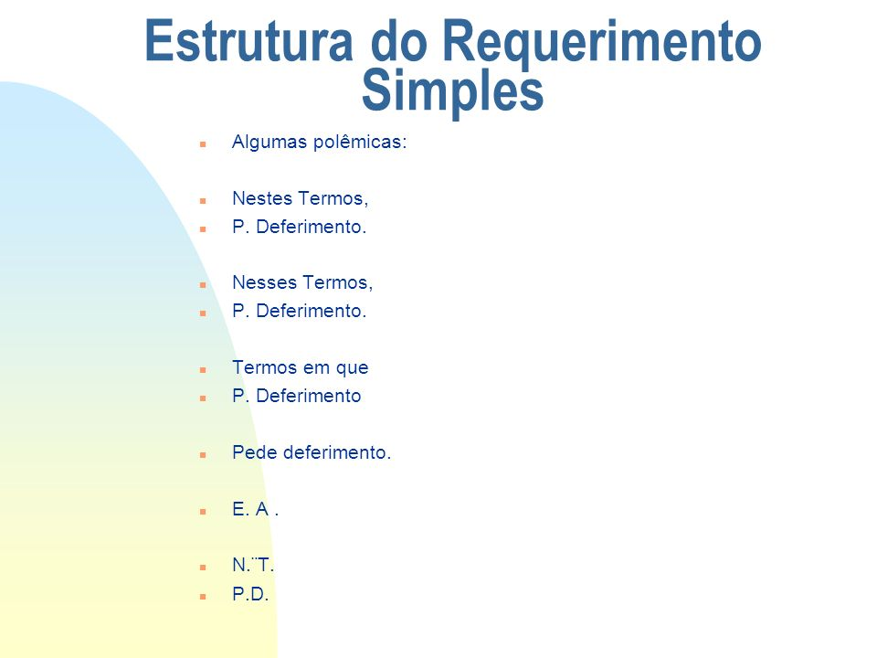 Estrutura do Requerimento Simples