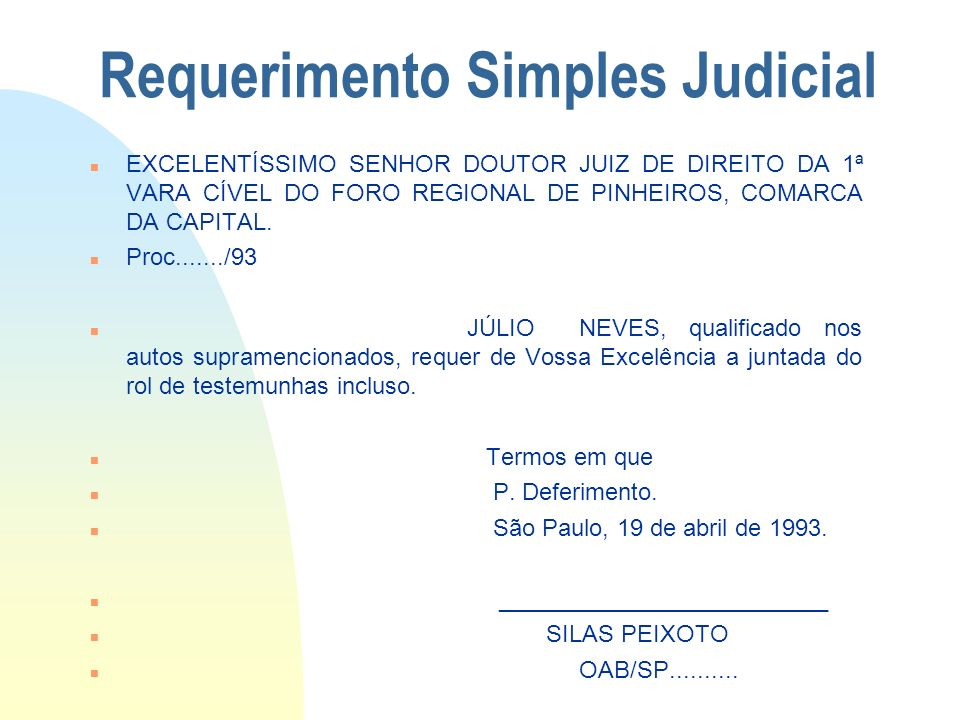 Requerimento Simples Judicial