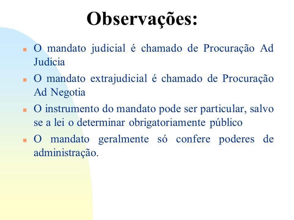 Observações: O mandato judicial é chamado de Procuração Ad Judicia