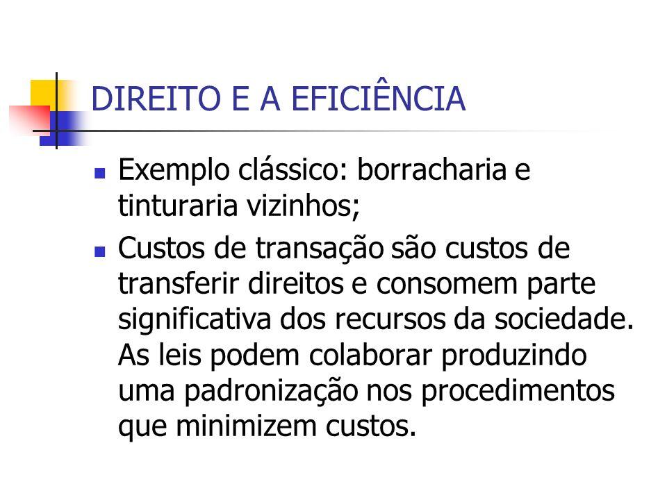 DIREITO E A EFICIÊNCIA Exemplo clássico: borracharia e tinturaria vizinhos;
