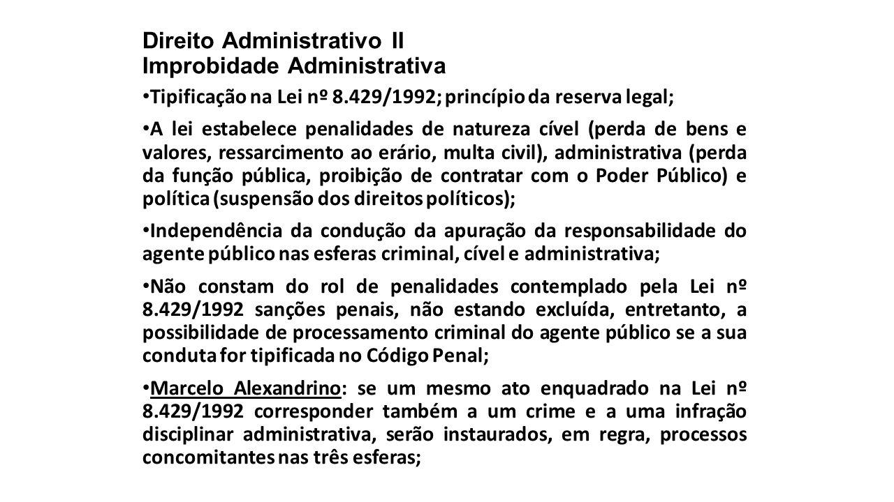 Direito Administrativo II Improbidade Administrativa