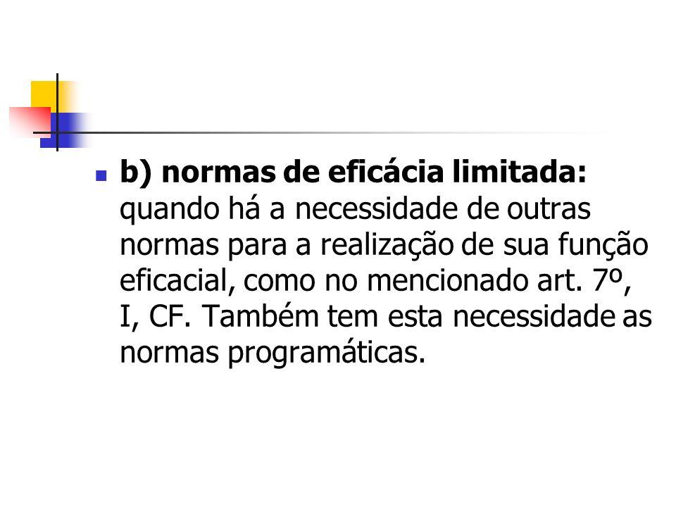 b) normas de eficácia limitada: quando há a necessidade de outras normas para a realização de sua função eficacial, como no mencionado art.