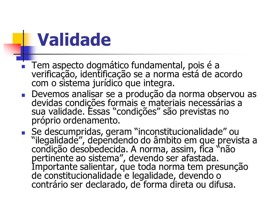 Validade Tem aspecto dogmático fundamental, pois é a verificação, identificação se a norma está de acordo com o sistema jurídico que integra.
