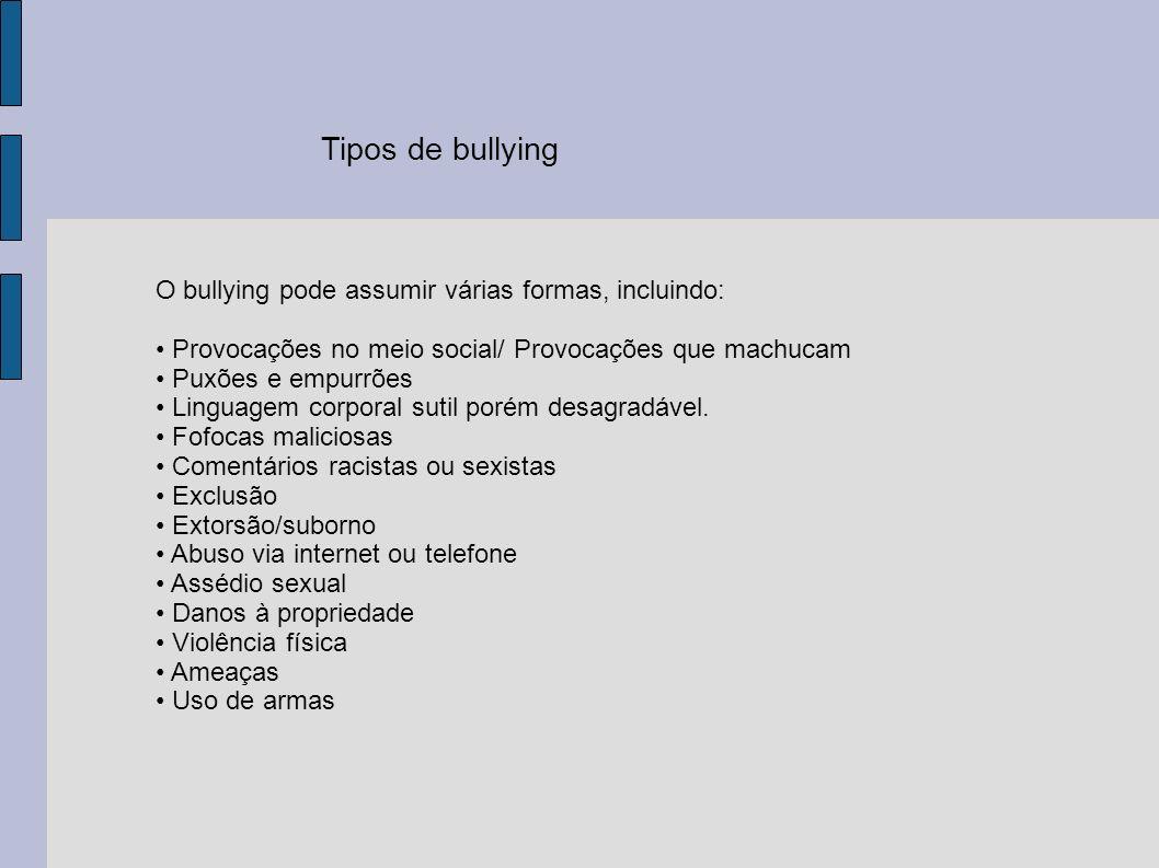 Tipos de bullying O bullying pode assumir várias formas, incluindo: