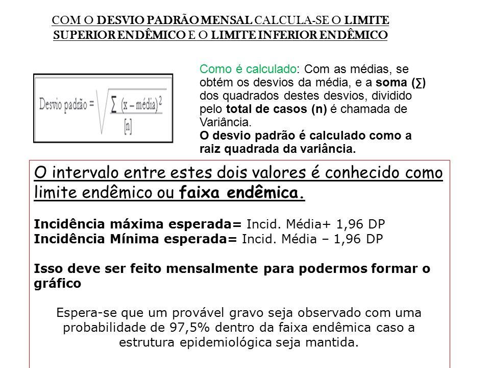 COM O DESVIO PADRÃO MENSAL CALCULA-SE O LIMITE SUPERIOR ENDÊMICO E O LIMITE INFERIOR ENDÊMICO