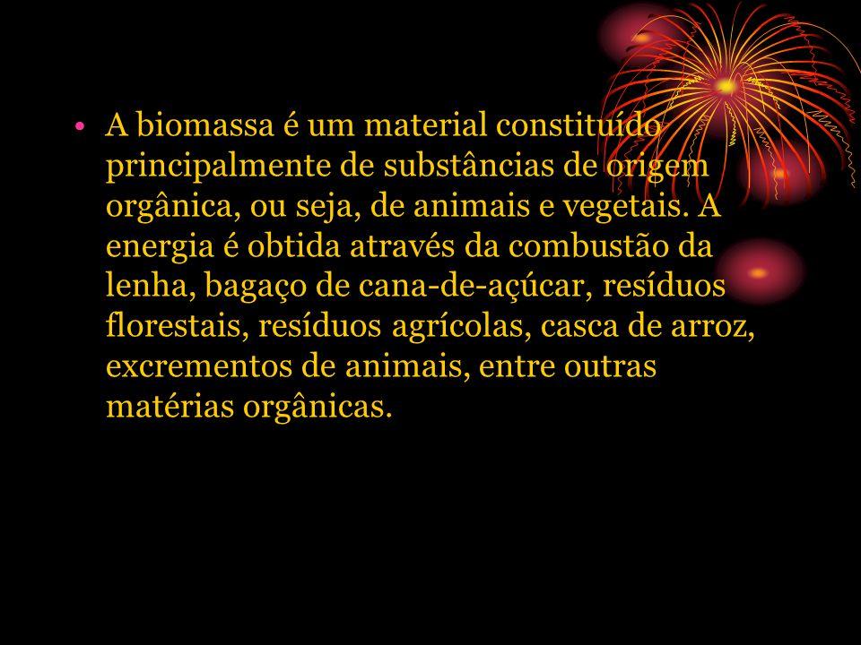 A biomassa é um material constituído principalmente de substâncias de origem orgânica, ou seja, de animais e vegetais.