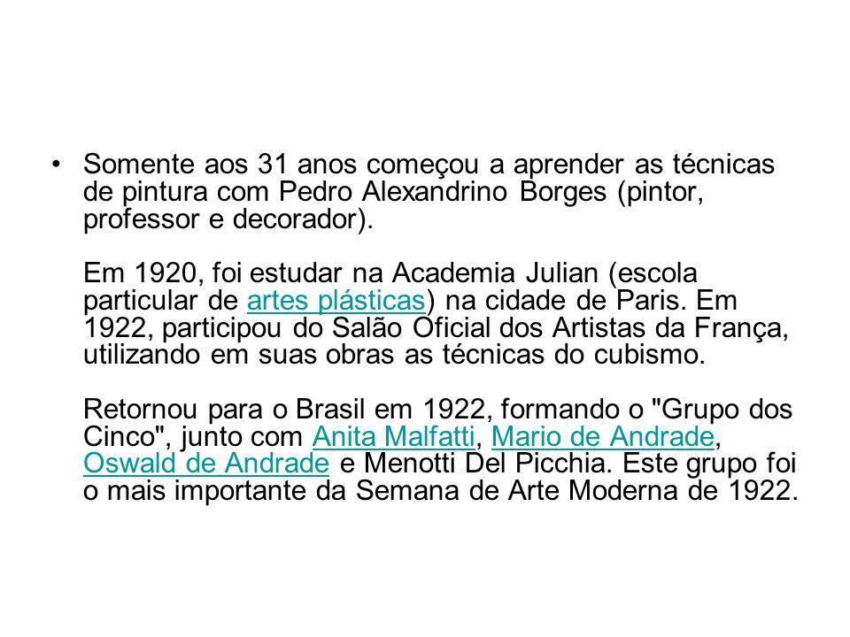 Somente aos 31 anos começou a aprender as técnicas de pintura com Pedro Alexandrino Borges (pintor, professor e decorador). Em 1920, foi estudar na Academia Julian (escola particular de artes plásticas) na cidade de Paris.