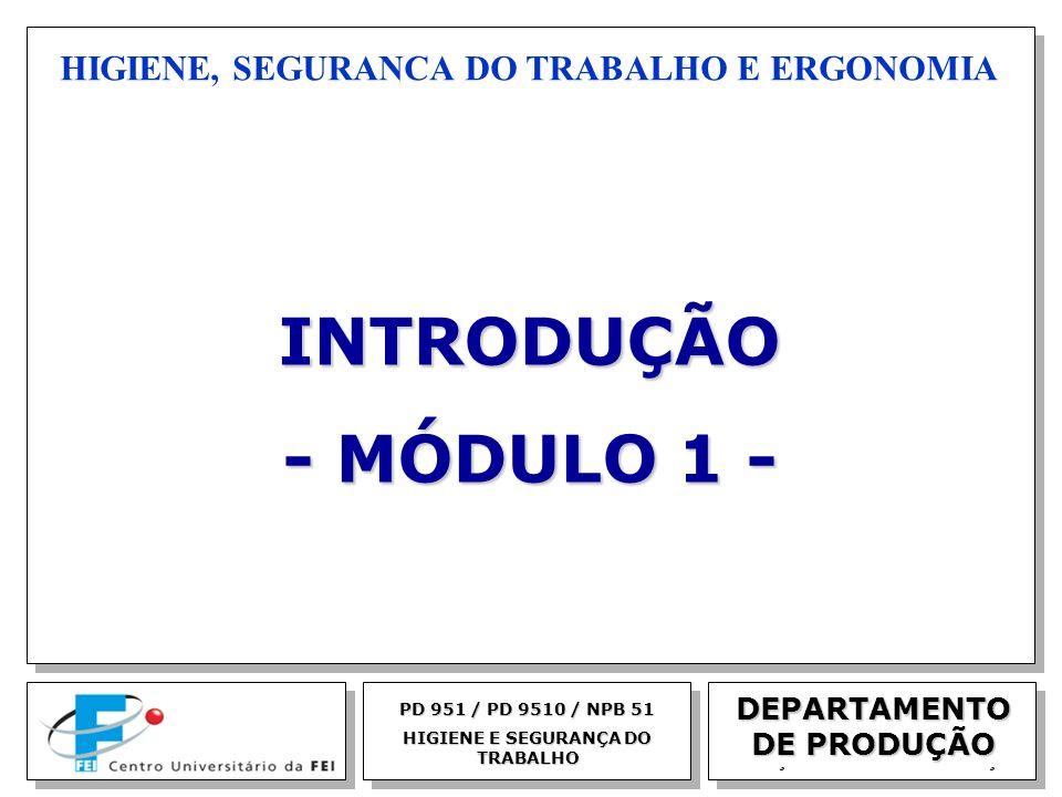 INTRODUÇÃO - MÓDULO 1 - HIGIENE, SEGURANCA DO TRABALHO E ERGONOMIA