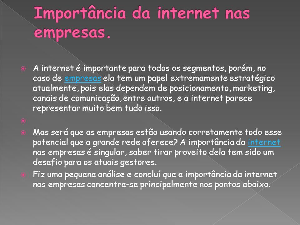 Importância da internet nas empresas.