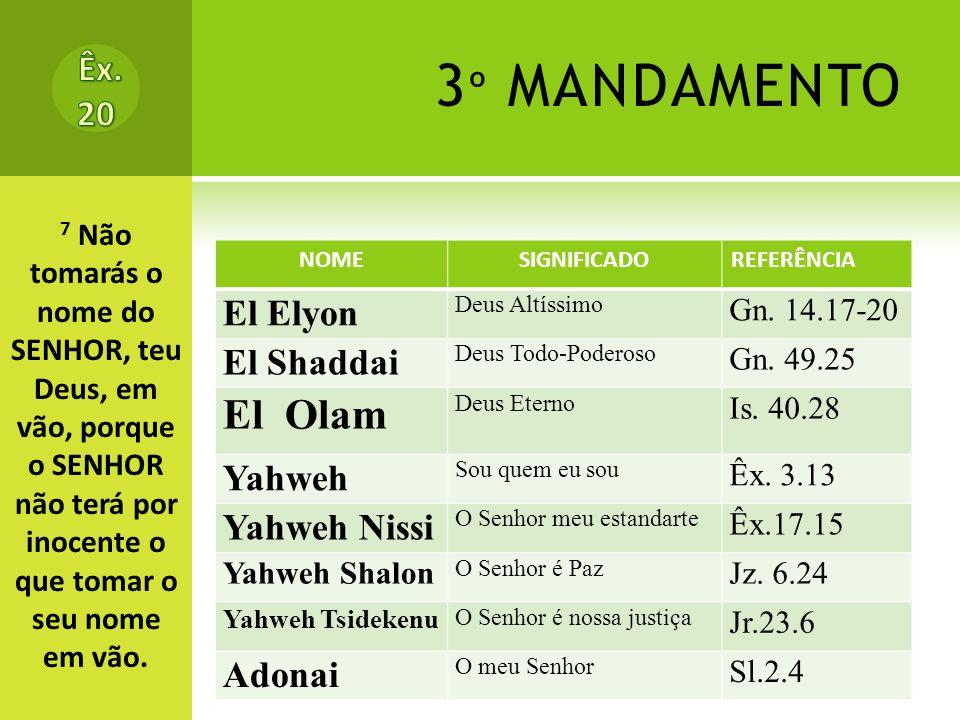 3º MANDAMENTO El Olam Êx. 20 El Elyon El Shaddai Yahweh Yahweh Nissi