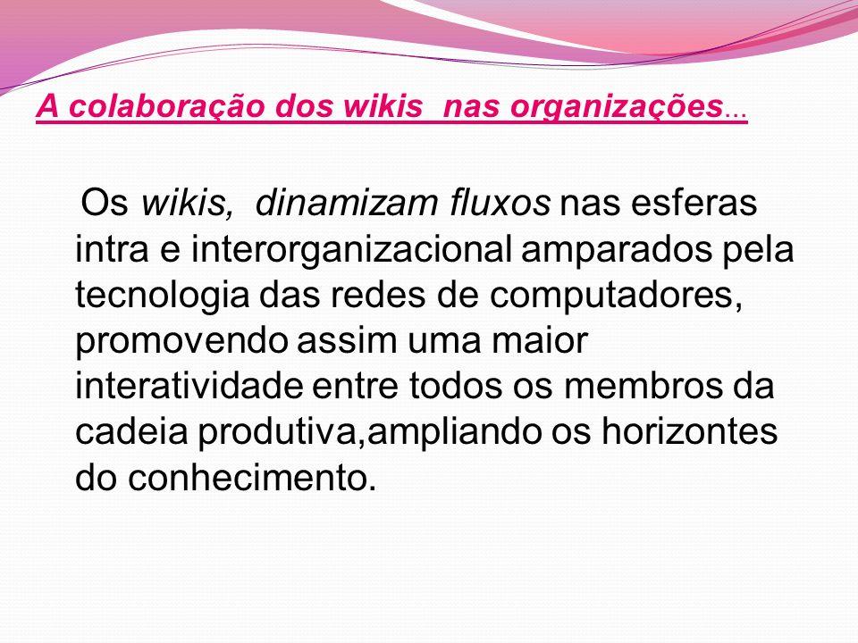 A colaboração dos wikis nas organizações...