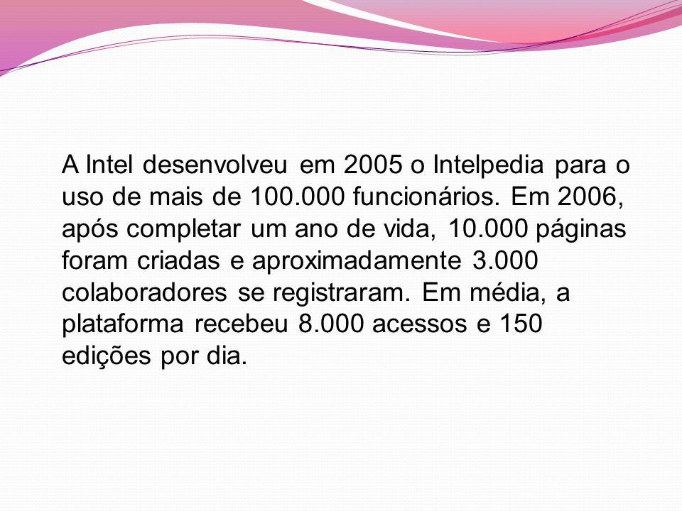 A Intel desenvolveu em 2005 o Intelpedia para o uso de mais de 100