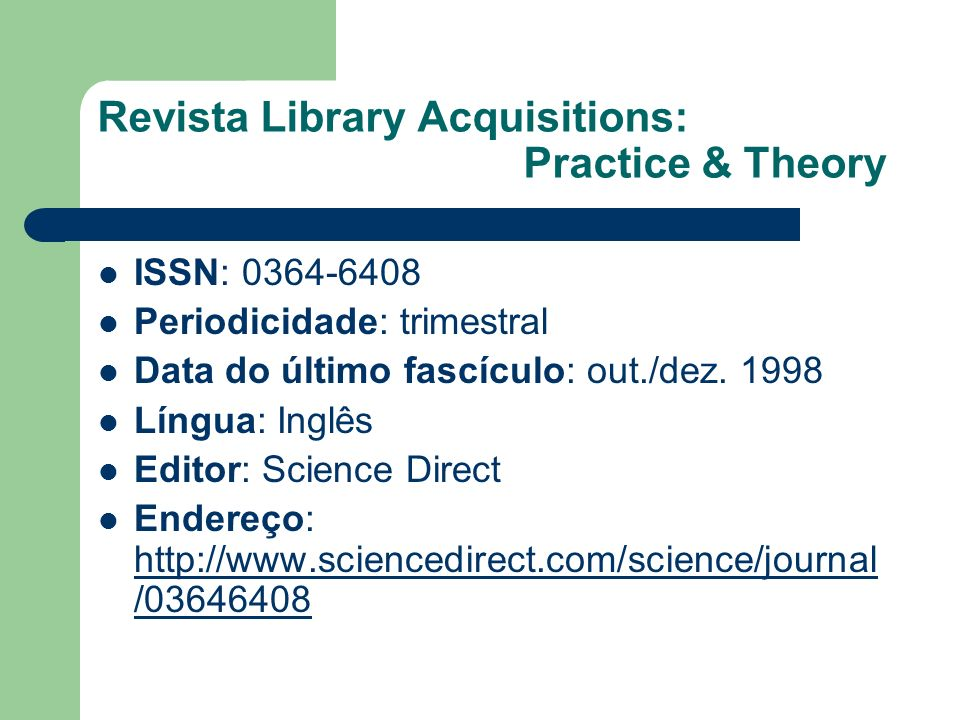 Revista Library Acquisitions: Practice & Theory