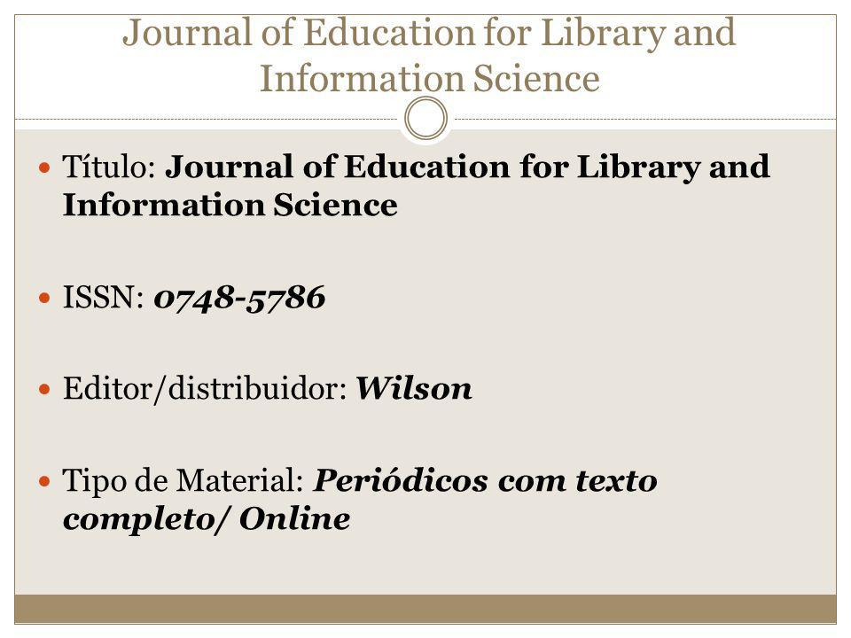 Journal of Education for Library and Information Science