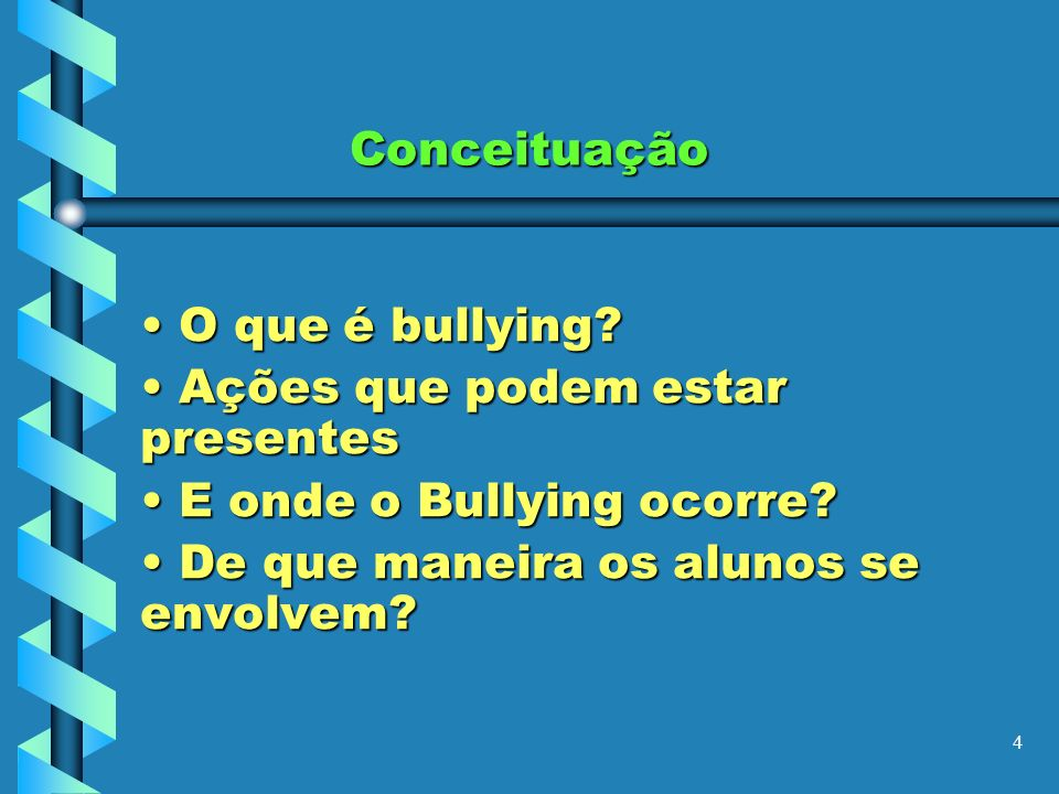 Conceituação O que é bullying. Ações que podem estar presentes.