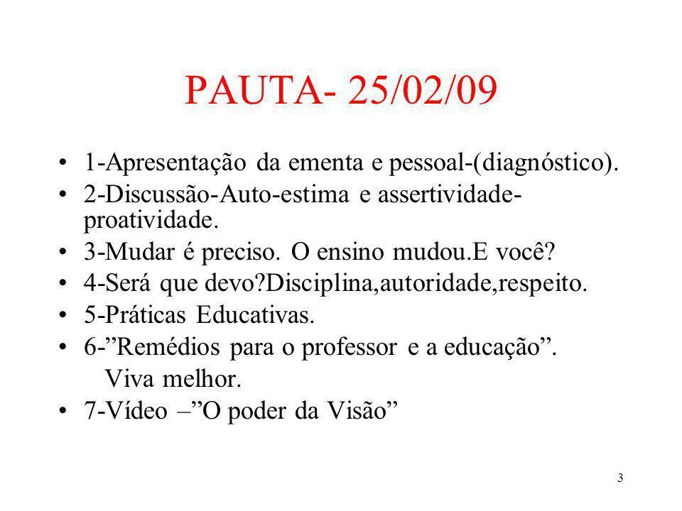 PAUTA- 25/02/09 1-Apresentação da ementa e pessoal-(diagnóstico).