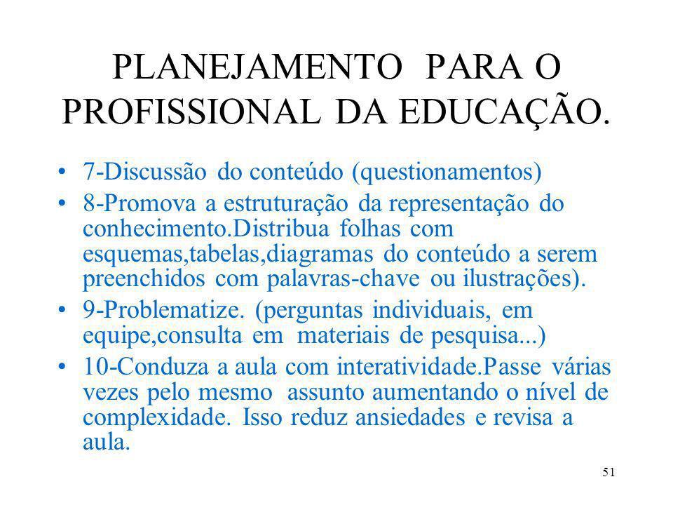 PLANEJAMENTO PARA O PROFISSIONAL DA EDUCAÇÃO.