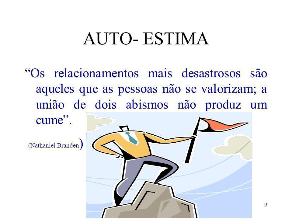 AUTO- ESTIMA Os relacionamentos mais desastrosos são aqueles que as pessoas não se valorizam; a união de dois abismos não produz um cume .
