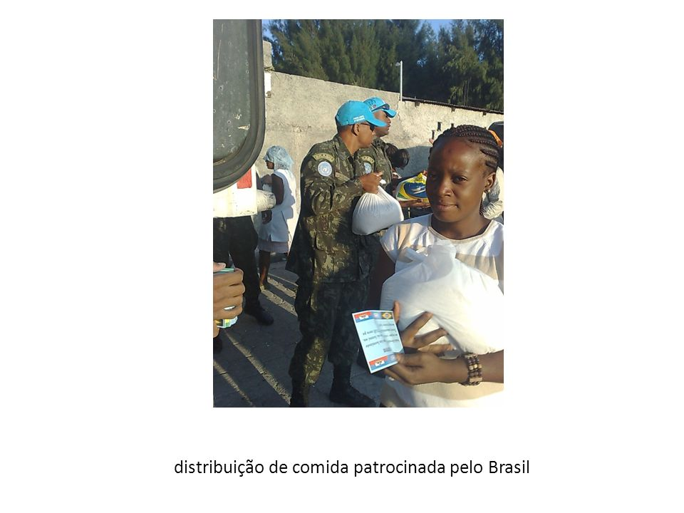 distribuição de comida patrocinada pelo Brasil